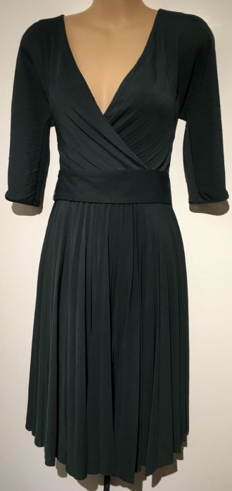 BCBG MAXAZRIA DARK GREEN PLEATED CROSS OVER DRESS SIZE XXS 6/8